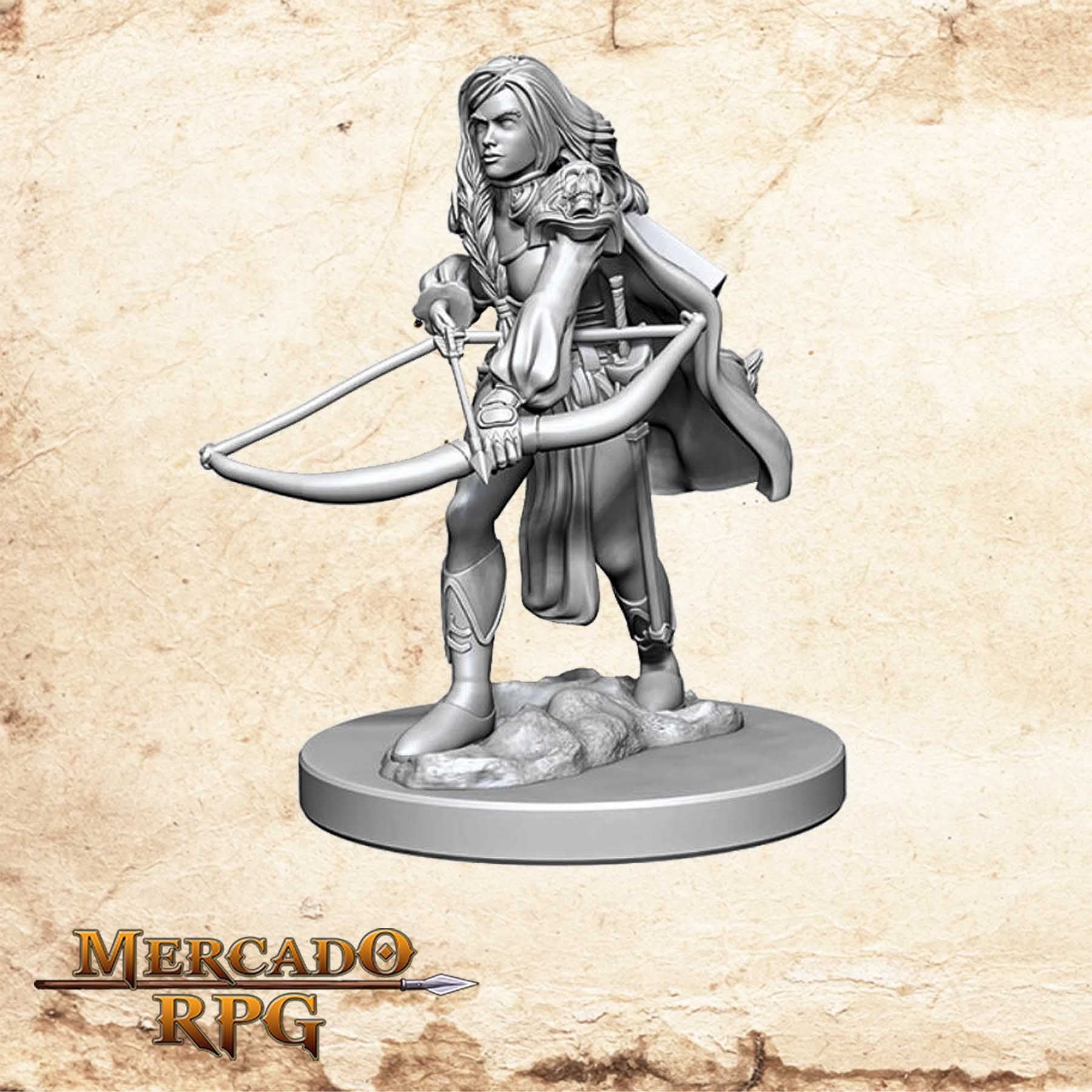 Human Female Fighter B - Miniatura RPG  - Mercado RPG