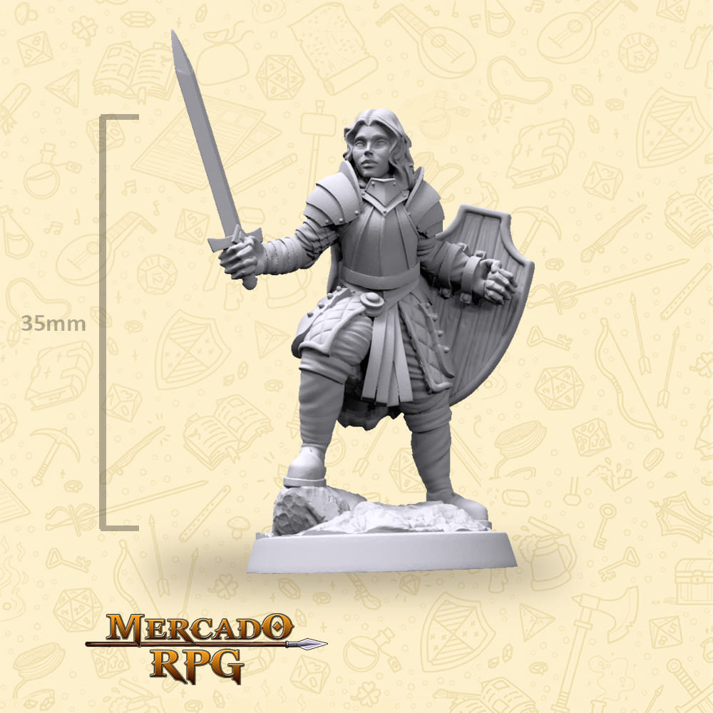 Human Paladin Female - Hero - Miniatura - RPG