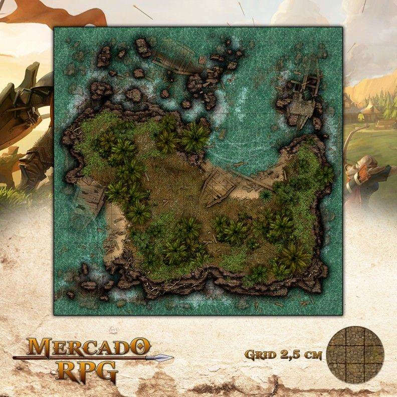 Ilha do Naufrágio 50x50 - RPG Battle Grid D&D