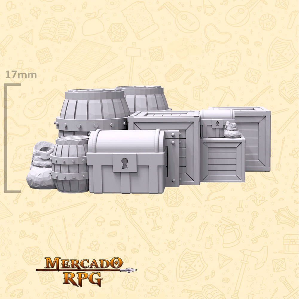 Kit Armazém A - Miniaturas de cenários para RPG e Boardgames