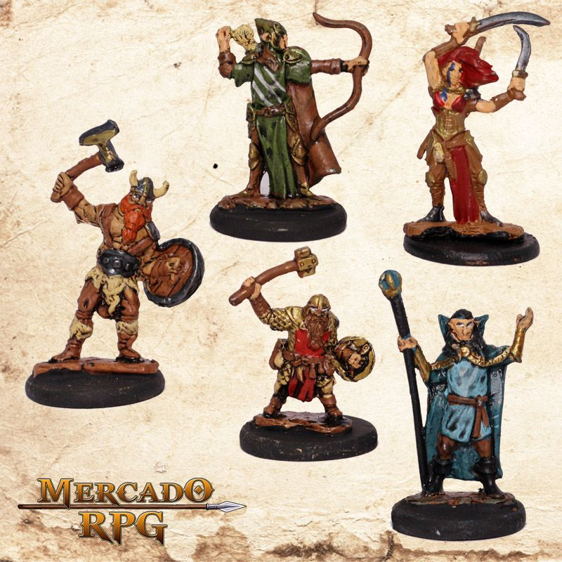 Kit Aventureiros B - Miniatura RPG  - Mercado RPG