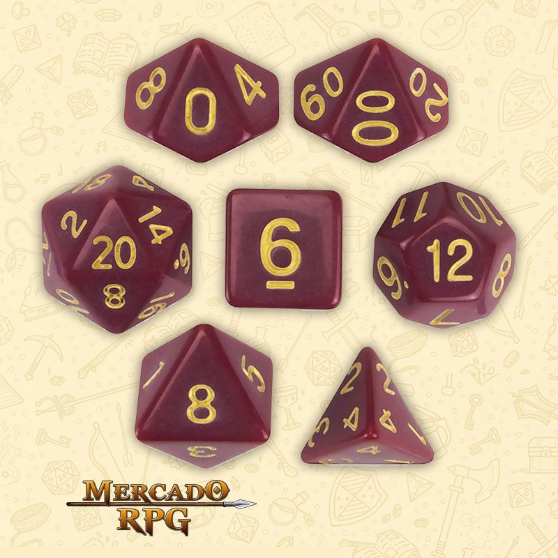 Kit Completo de Dados RPG - Crimson Queen  - Mercado RPG
