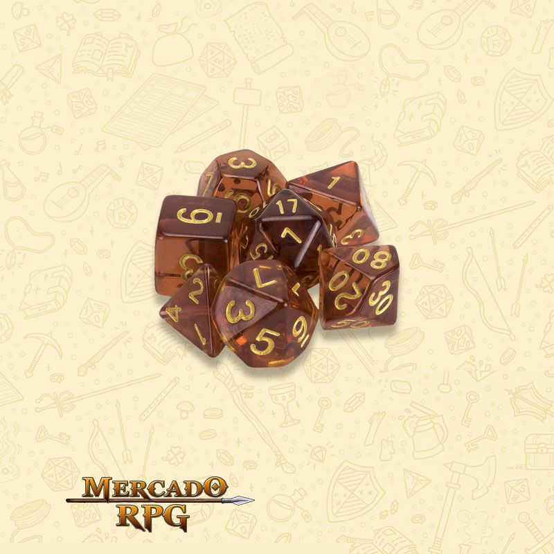 Kit Completo de Dados RPG - Desert Topaz  - Mercado RPG