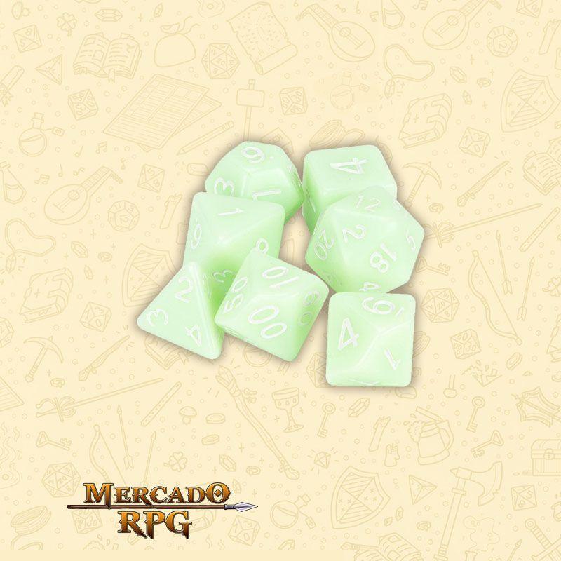 Kit Completo de 7 Dados RPG - Ghost Jade