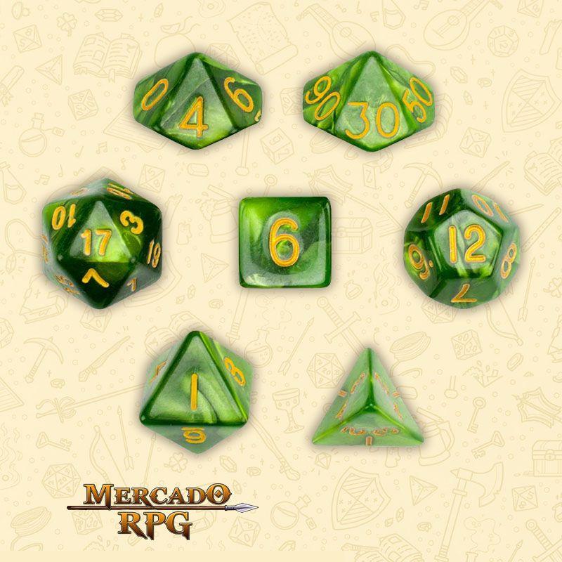 Kit Completo de Dados RPG - Jade Oil  - Mercado RPG