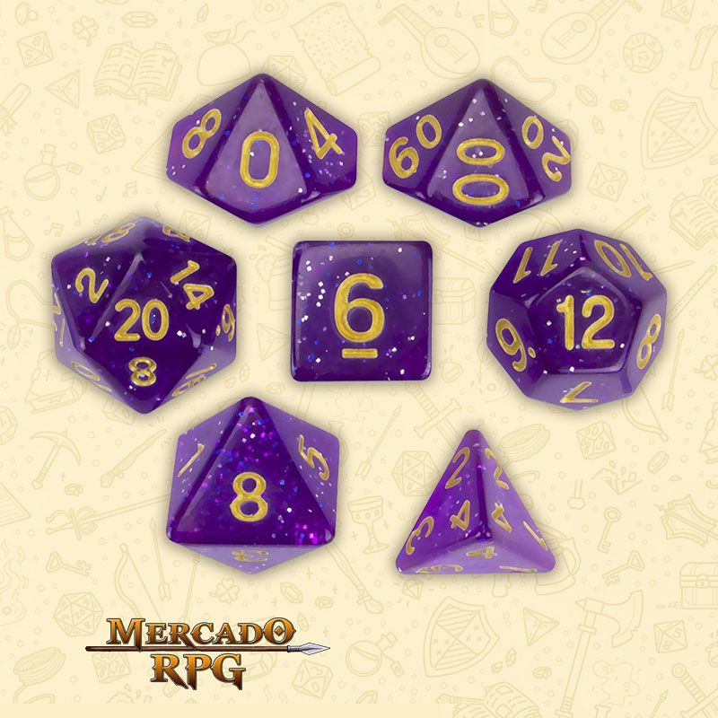 Kit Completo de Dados RPG - Midnight Nebula  - Mercado RPG
