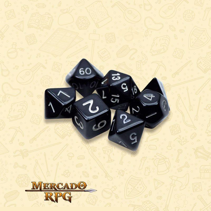 Kit Completo de Dados RPG - Opaque Black
