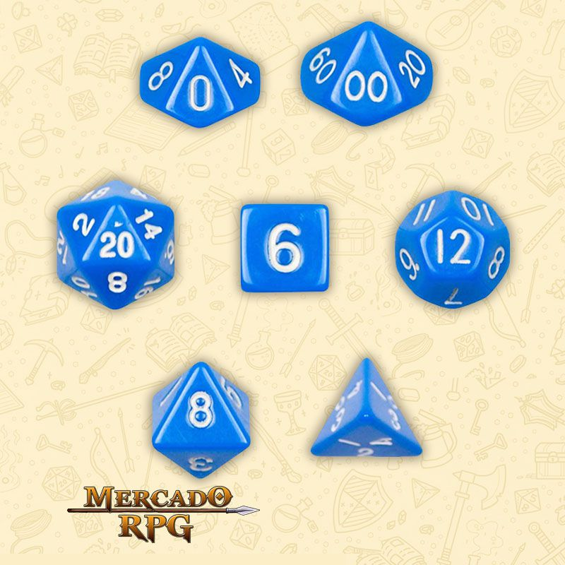 Kit Completo de Dados RPG - Opaque Blue  - Mercado RPG