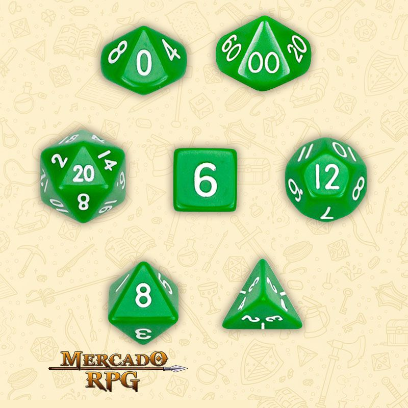 Kit Completo de Dados RPG - Opaque Green  - Mercado RPG