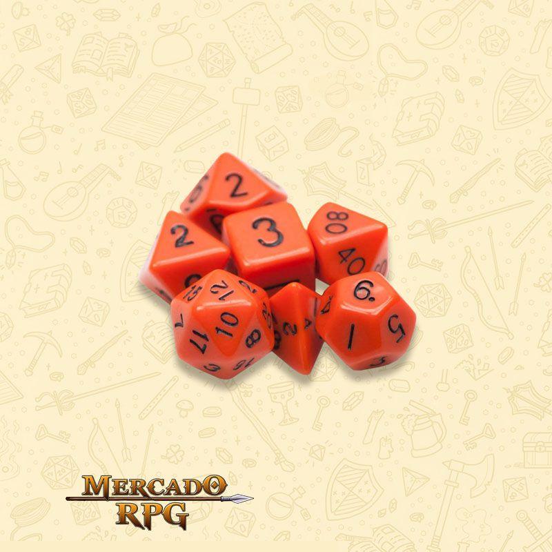 Kit Completo de 7 Dados RPG - Opaque Orange