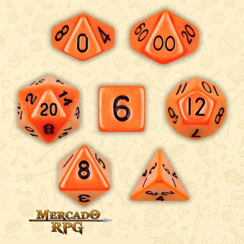 Kit Completo de Dados RPG - Opaque Orange  - Mercado RPG
