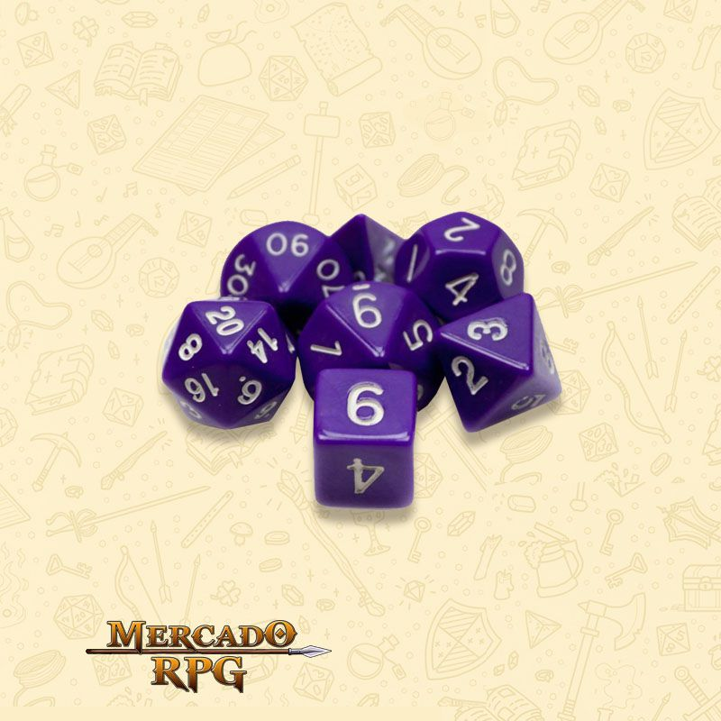 Kit Completo de Dados RPG - Opaque Purple