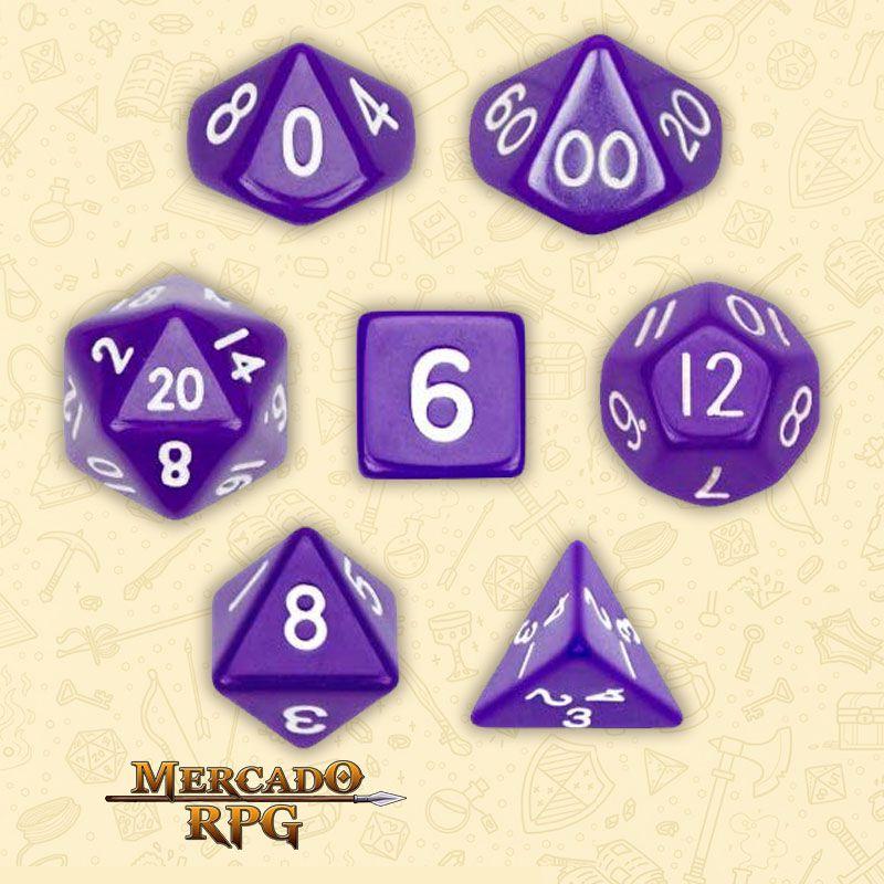 Kit Completo de Dados RPG - Opaque Purple  - Mercado RPG