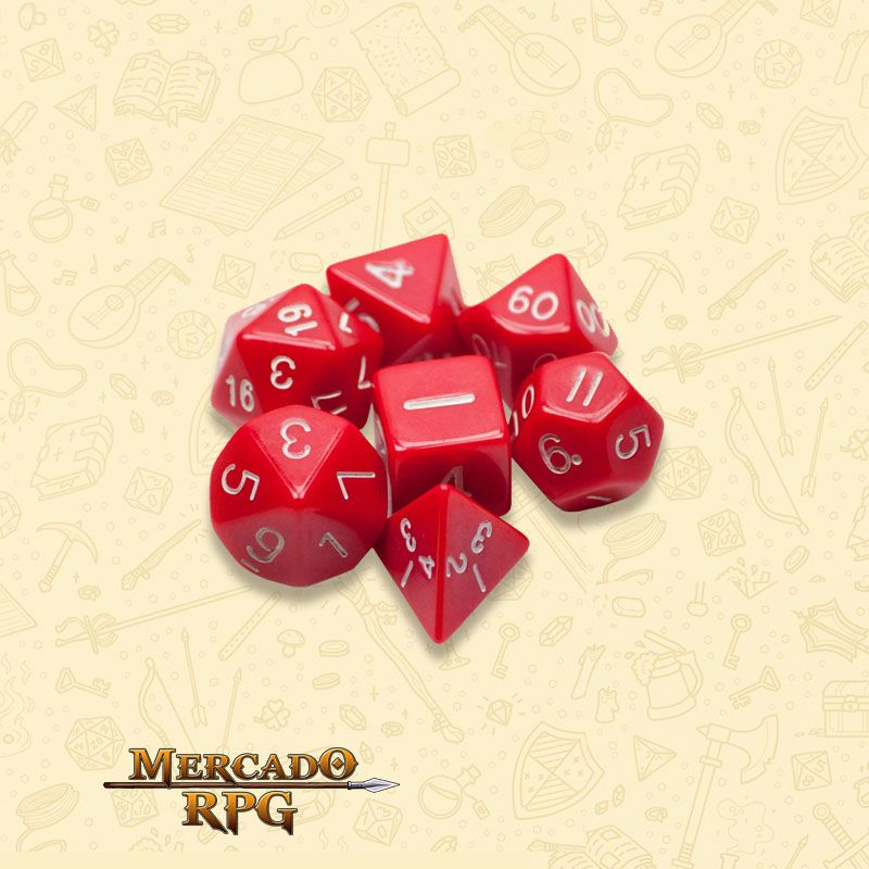 Kit Completo de Dados RPG - Opaque Red