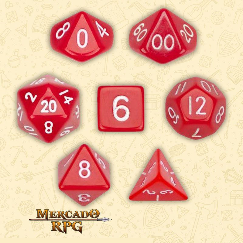 Kit Completo de Dados RPG - Opaque Red  - Mercado RPG