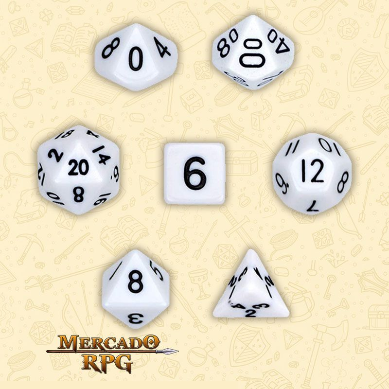 Kit Completo de Dados RPG - Opaque White  - Mercado RPG