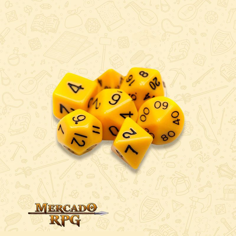 Kit Completo de Dados RPG - Opaque Yellow  - Mercado RPG