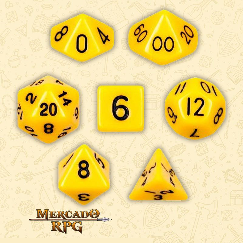Kit Completo de Dados RPG - Opaque Yellow  - Mercado RPG