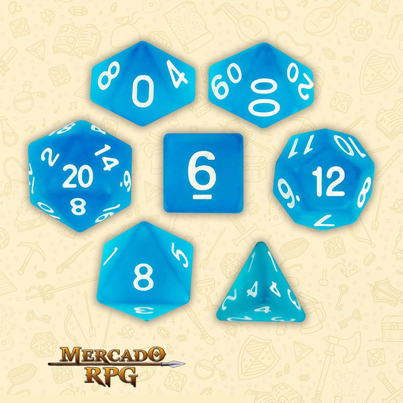 Kit Completo de Dados RPG - Sea Glass  - Mercado RPG
