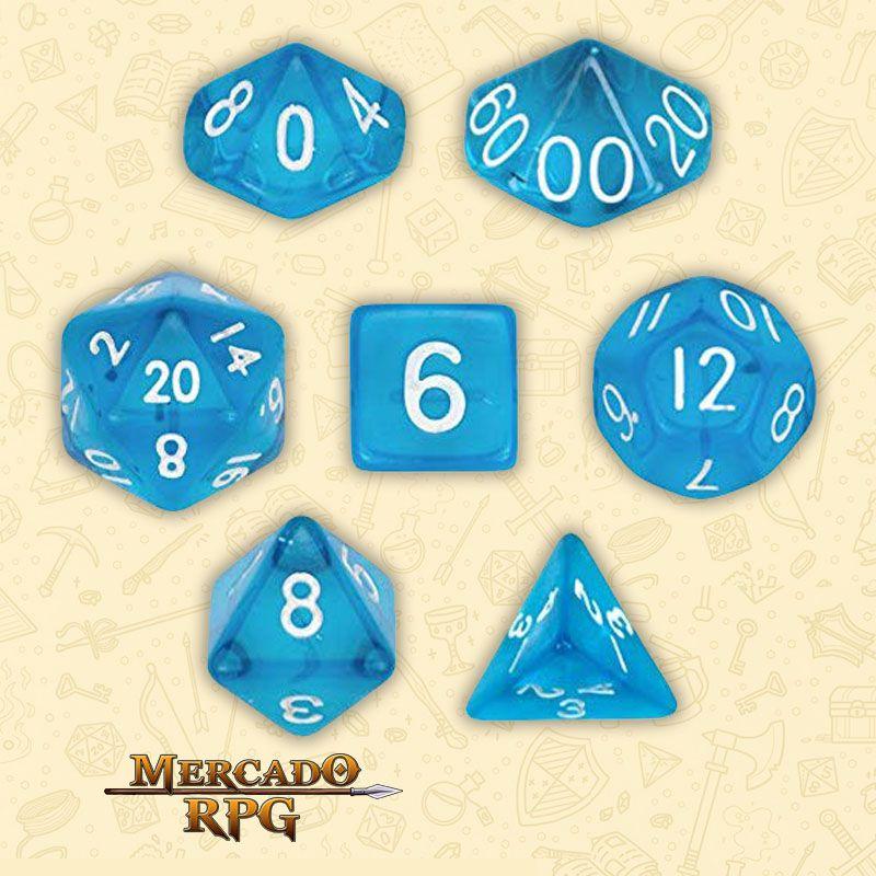 Kit Completo de Dados RPG - Translucent Blue  - Mercado RPG