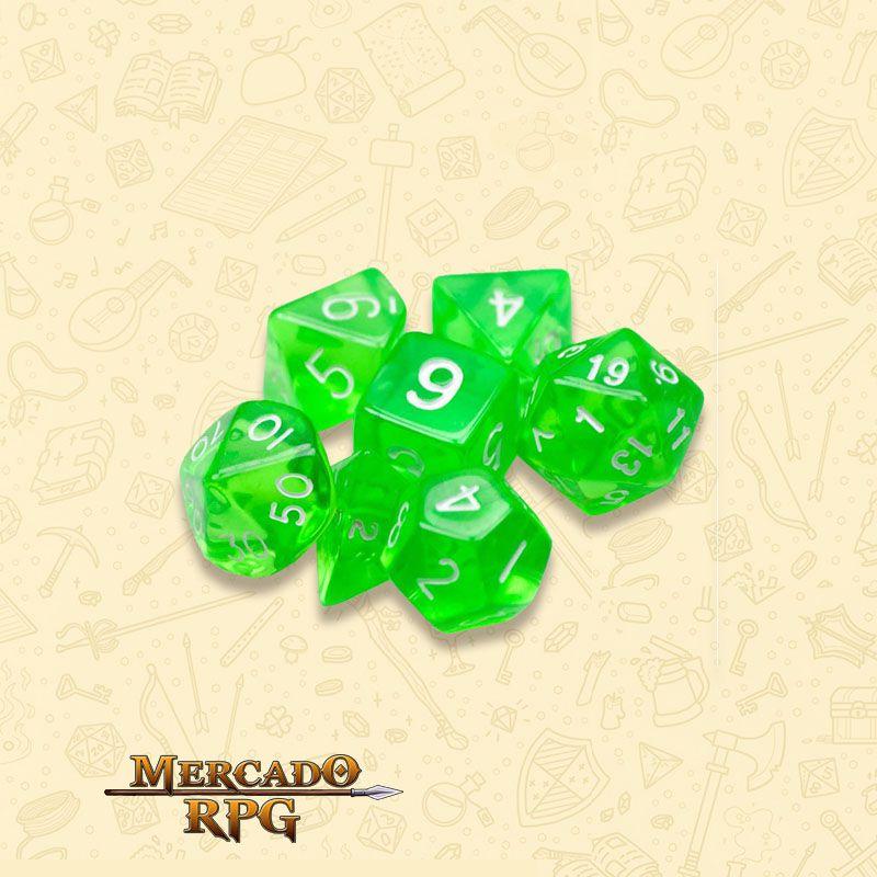 Kit Completo de Dados RPG - Translucent Green