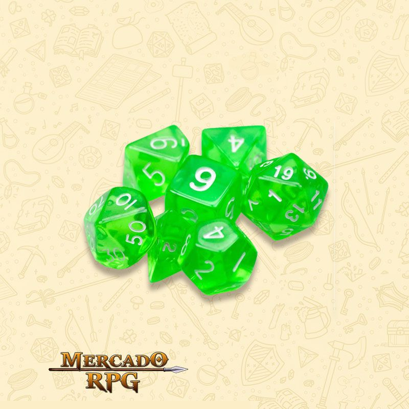 Kit Completo de Dados RPG - Translucent Green  - Mercado RPG