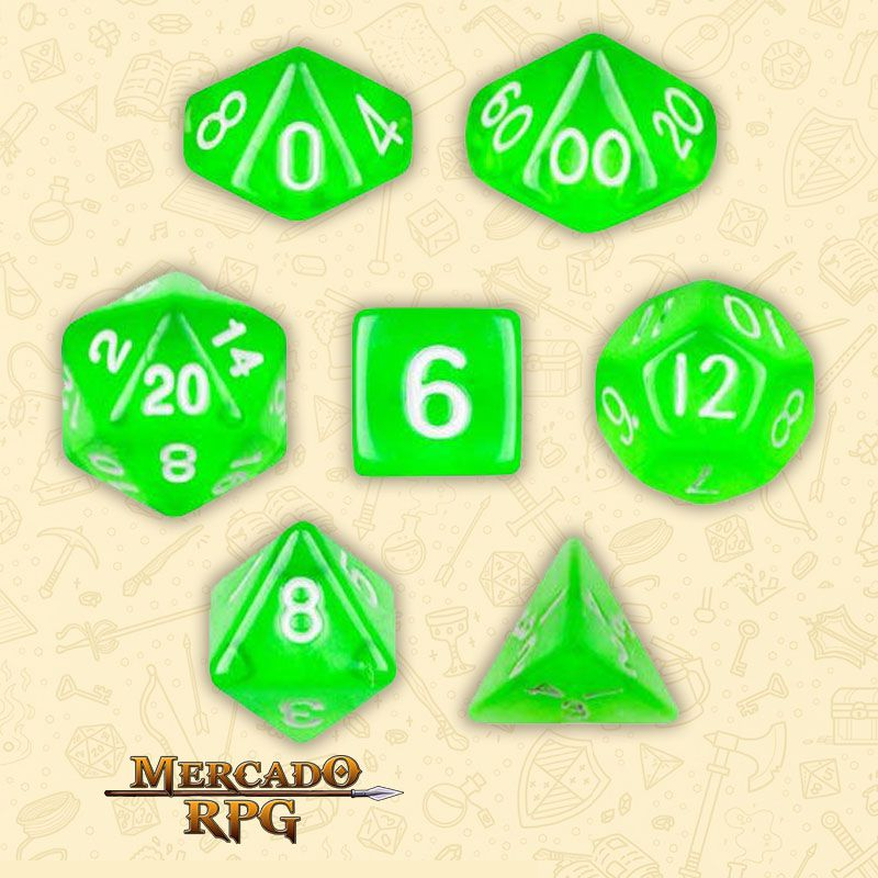 Kit Completo de Dados RPG - Translucent Green  - Mercado RPG