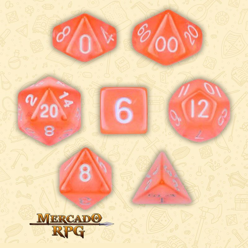 Kit Completo de Dados RPG - Translucent Orange  - Mercado RPG