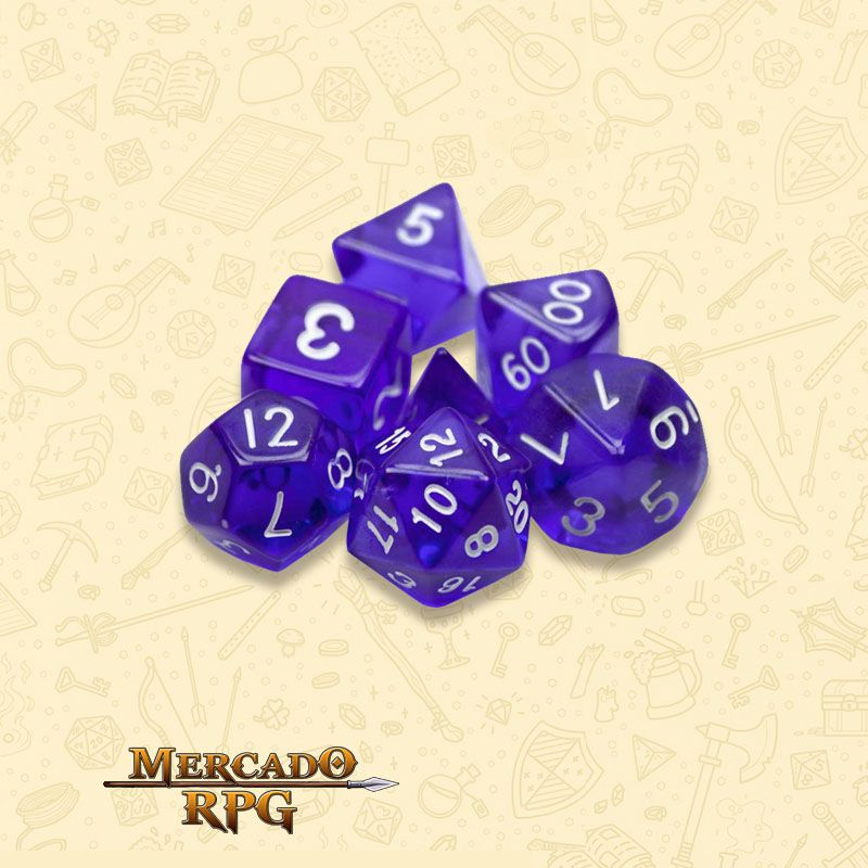 Kit Completo de Dados RPG - Translucent Purple
