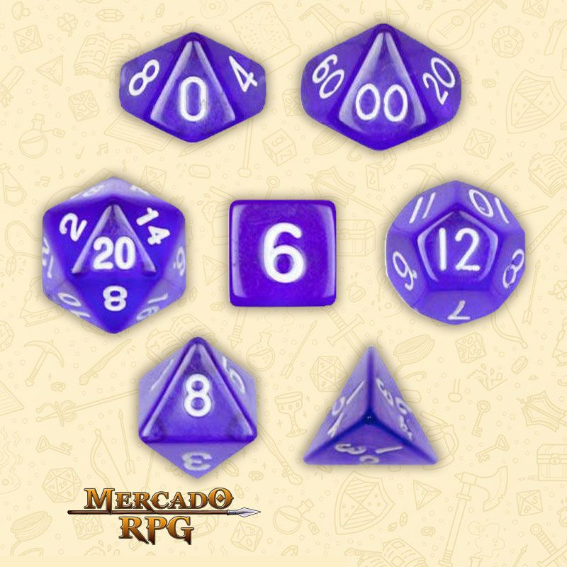 Kit Completo de Dados RPG - Translucent Purple  - Mercado RPG