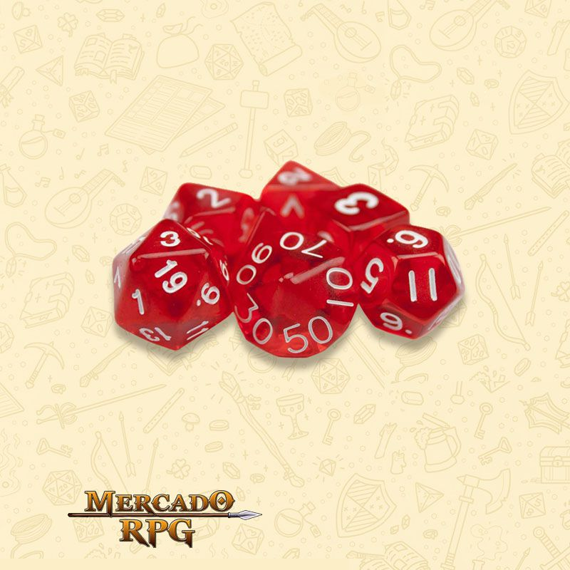 Kit Completo de Dados RPG - Translucent Red