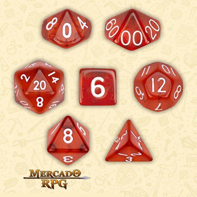 Kit Completo de Dados RPG - Translucent Red  - Mercado RPG