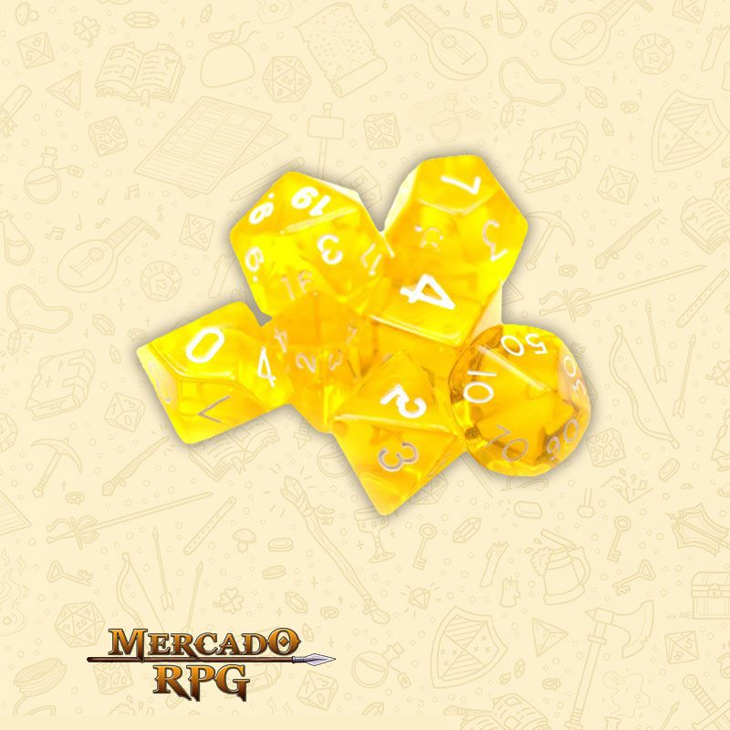 Kit Completo de 7 Dados RPG - Translucent Yellow