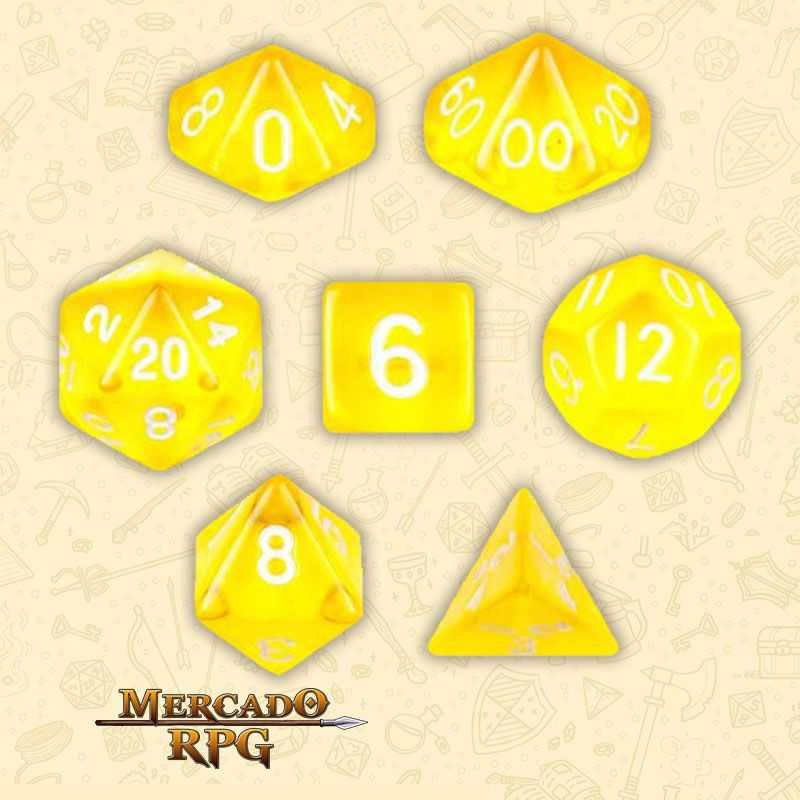 Kit Completo de Dados RPG - Translucent Yellow - Mercado RPG