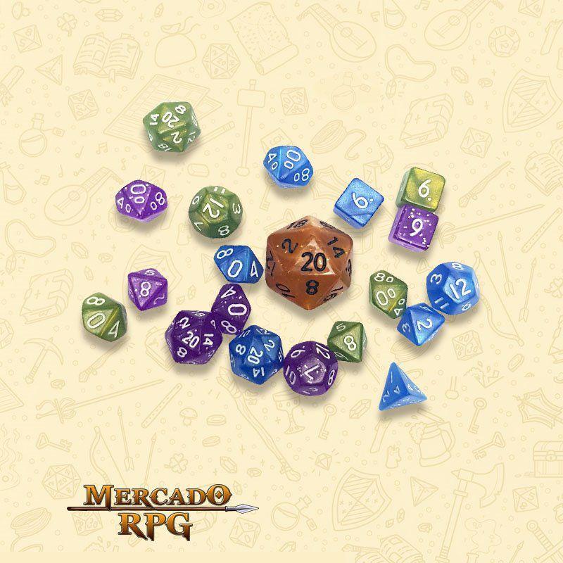 Kit Completo de Mini Dados RPG - Diamond Dust  - Mercado RPG