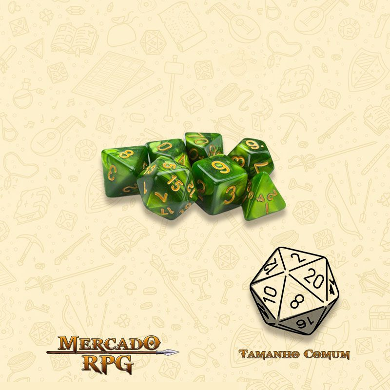 Kit Completo de Mini Dados RPG - Jade Oil  - Mercado RPG
