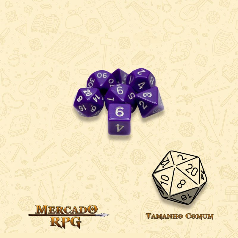 Kit Completo de Mini Dados RPG - Opaque Purple  - Mercado RPG