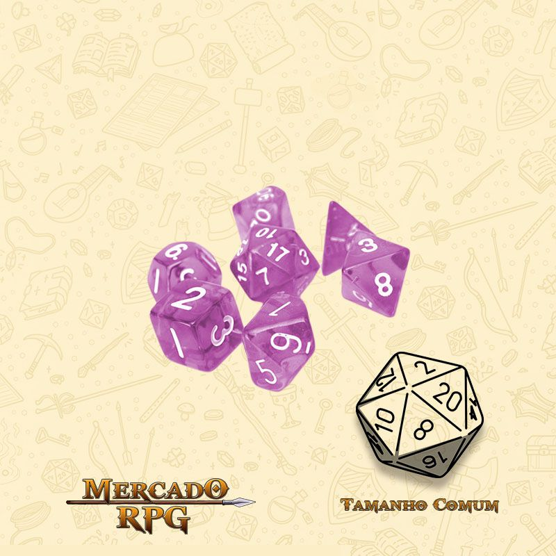 Kit Completo de Mini Dados RPG - Semi-Translucid Purple