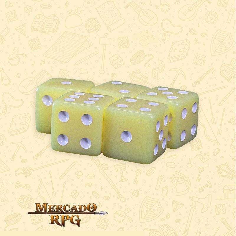Kit de Dados d6 Miami Dice - Amarelo Opaco - RPG