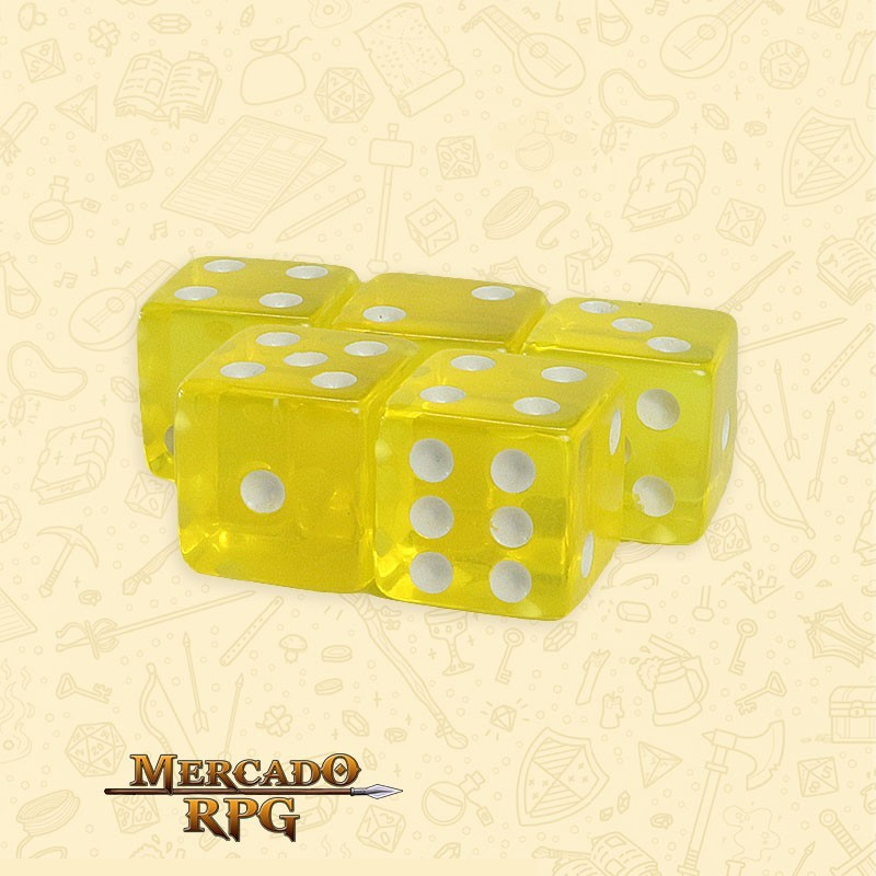 Kit de Dados d6 Miami Dice - Amarelo Translúcido - RPG