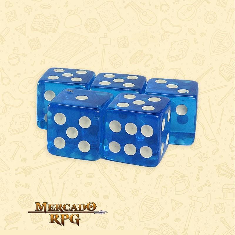 Kit de Dados d6 Miami Dice - Azul Translúcido - RPG