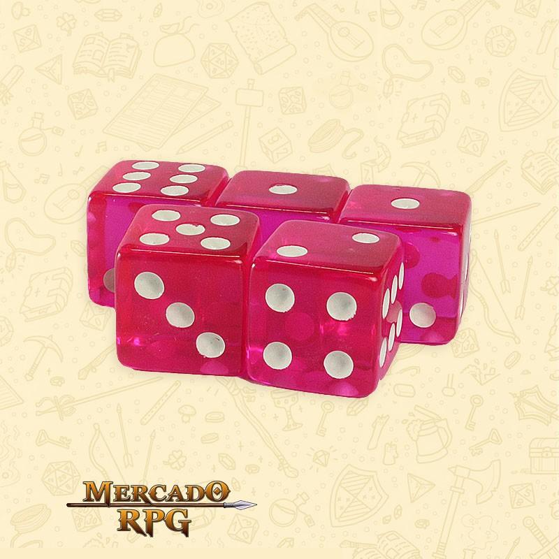 Kit de Dados d6 Miami Dice - Rosa Escuro Translúcido - RPG