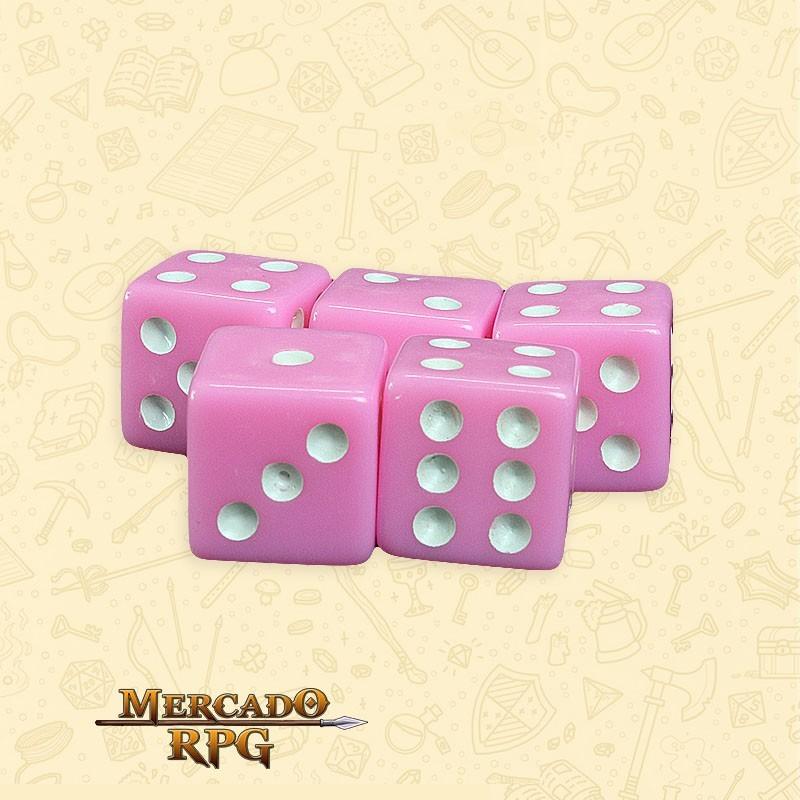 Kit de Dados d6 Miami Dice - Rosa Opaco - RPG