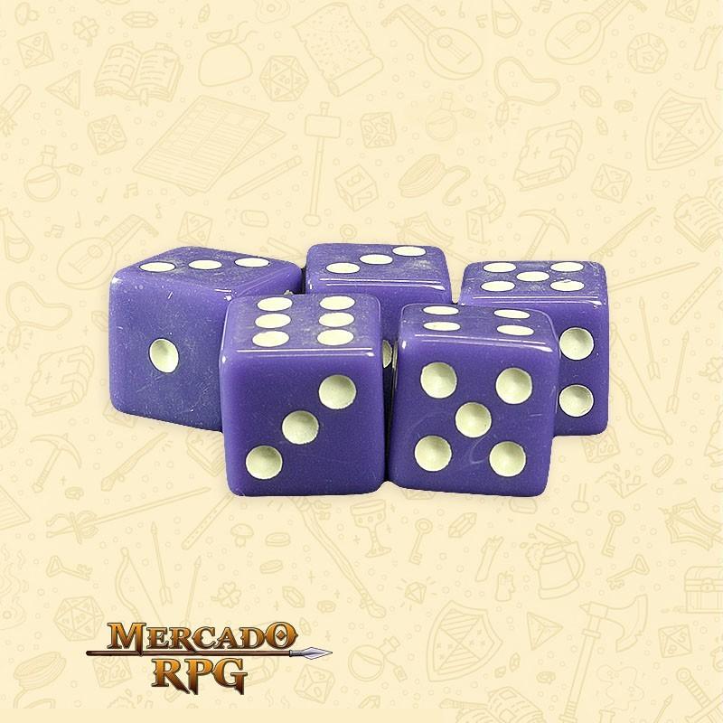 Kit de Dados d6 Miami Dice - Roxo Opaco - RPG