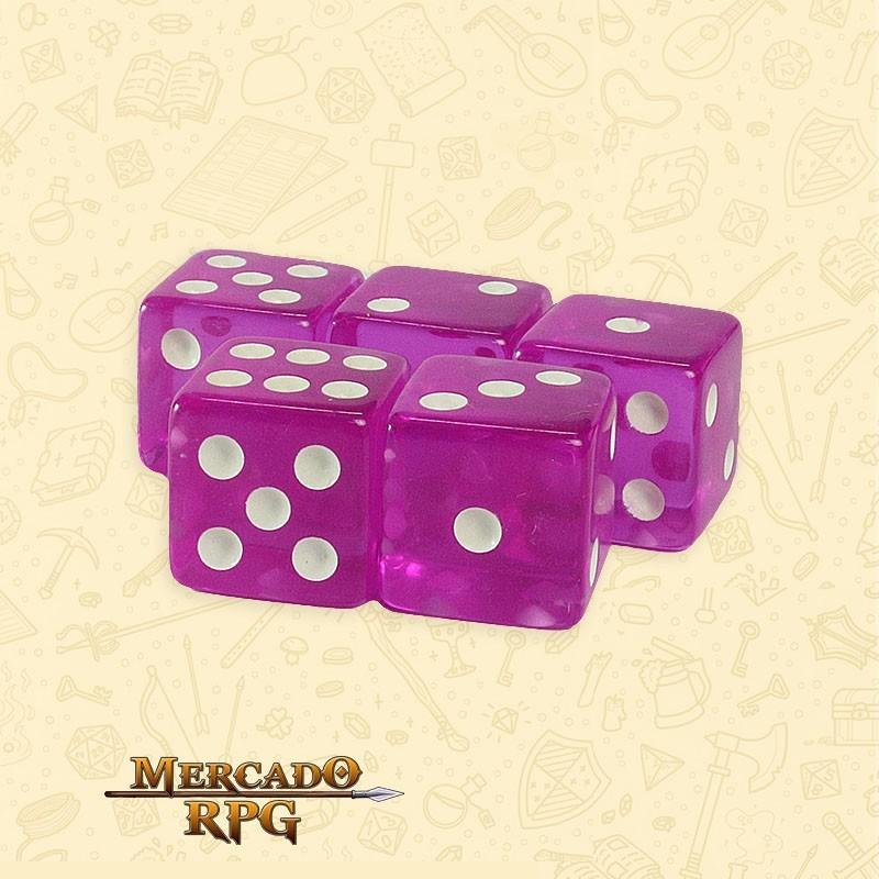 Kit de Dados d6 Miami Dice - Roxo Translúcido - RPG