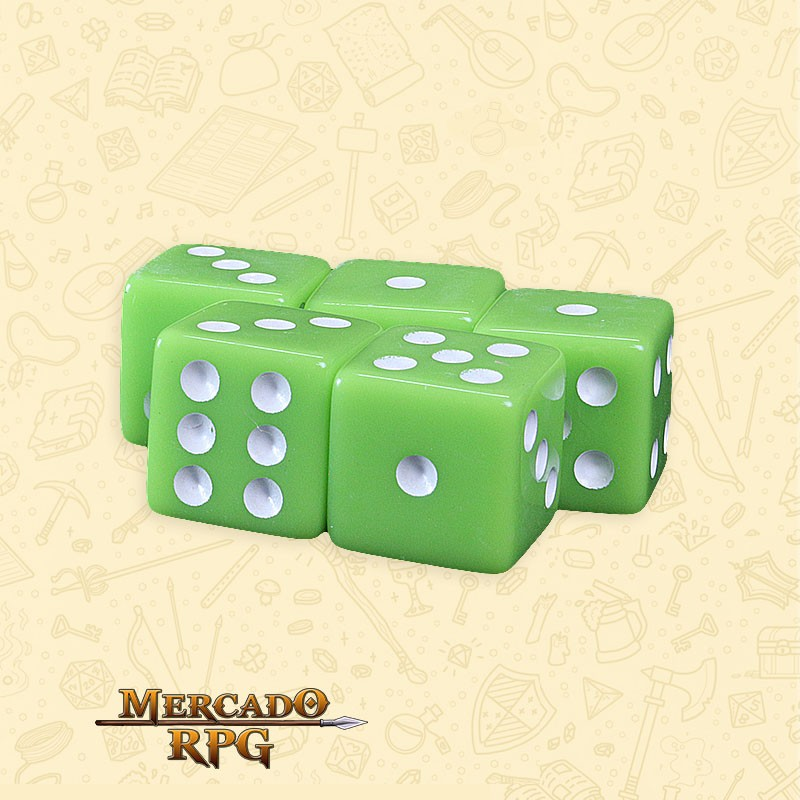 Kit de Dados d6 Miami Dice - Verde Opaco - RPG