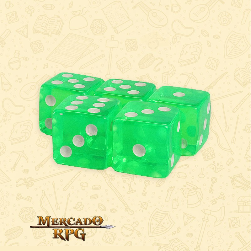 Kit de Dados d6 Miami Dice - Verde Translúcido - RPG