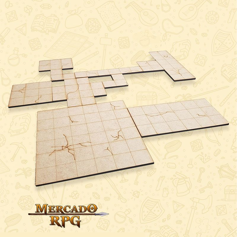 Kit Grid Modular em MDF - RPG Battle Grid D&D