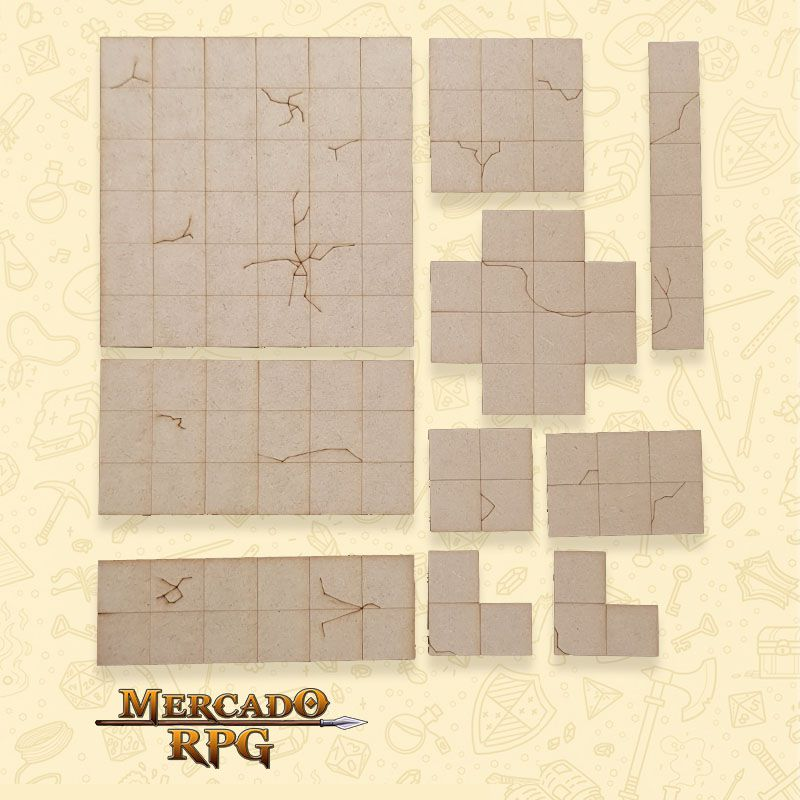 Kit Grid Modular em MDF - RPG Battle Grid D&D  - Mercado RPG