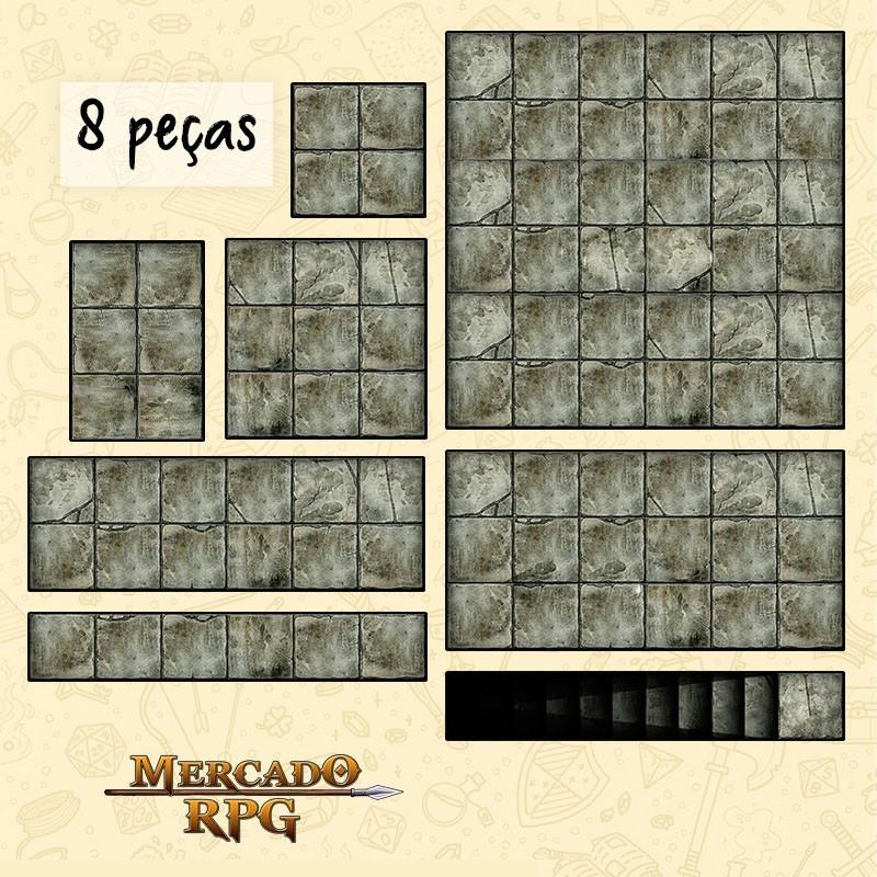 Kit Grid Modular Tecido - 8 Peças - RPG Battle Grid D&D